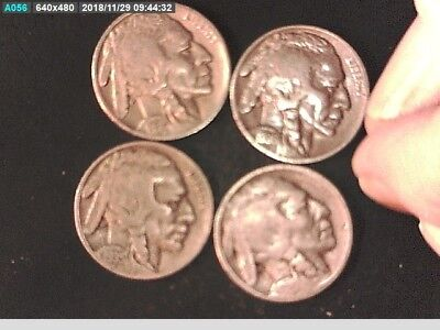 1920 D, 1935 P,1936 Vf, 1936 S F Set Of Buffalo Nickels  .05 Cent Coins