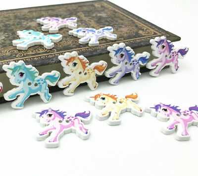 20X Animal buttons horse decoration Kid's Handicrafts Sewing Wooden buttons 32mm