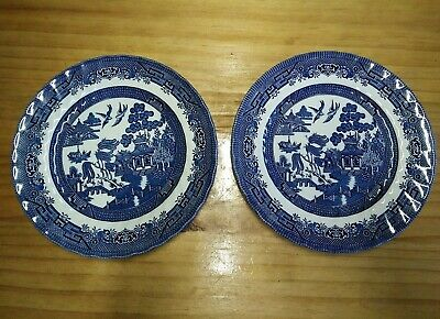 Blue and White porcelain Dinner Plates Willow pattern Royal Wessex England