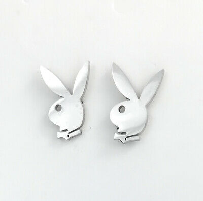 Silver Stainless Steel Playboy Bunny Animals Rabbit Studs Earrings Jewellery