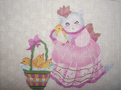 Dede Handpainted Needlepoint Canvas    Easter Kitten With Chicks Basket    Hp Np