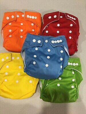 5 X Nappies Plain Modern Cloth with 2 Inserts / Nappy OSFM Adjustable Reusable