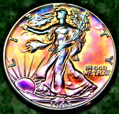 1945P Walking Liberty MS Uncirculated Half Dollar Multi Stage Toning 3 17 12