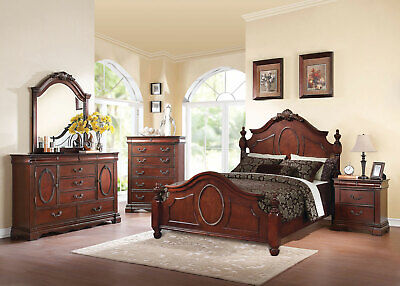 NEW OLD WORLD Cherry Brown Bedroom Furniture - STYLUS 5pcs King Size Panel  Set