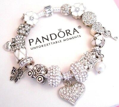 Authentic Pandora Silver Charm Bracelet WHITE LOVE CRYSTAL HEART European Beads.