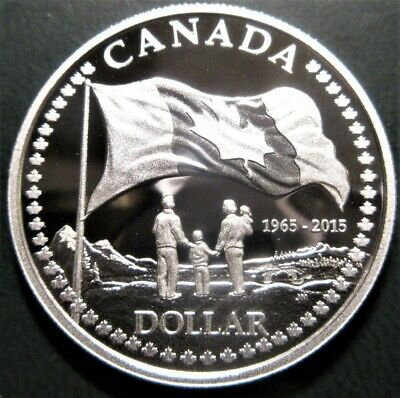 2015 $1 Dollar Canada .9999 Fine Silver Proof - 50Th Anniversary Of Flag