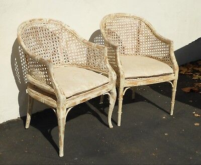 Pair of Vintage French Country off White Cane Back Accent Club Chairs