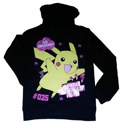 Pokemon Long Sleeved Hoodie Top 9/10 11/12 13/14 15/16 yrs Teen Pikachu Cotton