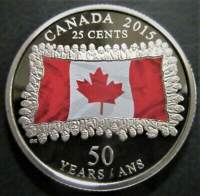 2015 25 Cents - CAMEO PROOF - Canada 50th Ann. of Coloured Flag - Mintage 20,000