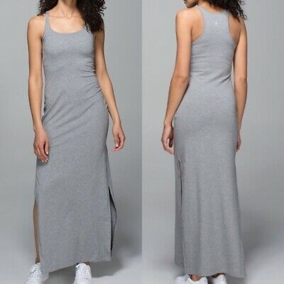 ad5a4fd8e21 Lululemon Refresh II Maxi Dress Heathered Grey Slits Athleisure Stretch Size  8