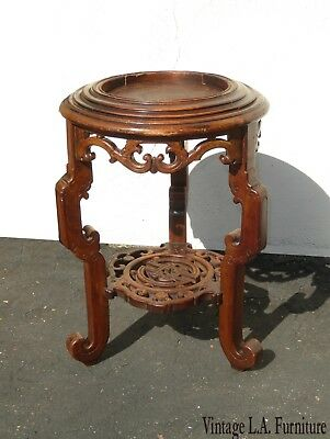 Vintage Asian Oriental Jardiniere Carved Wood Plant Stand Side Table