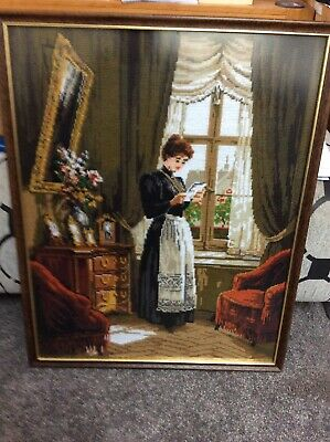 Vintage , Tapestry / Stitchwork, Victorian Lady In Manor House