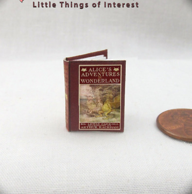 ALICE'S ADVENTURES IN WONDERLAND Miniature Book Dollhouse 1:12 Scale Readable