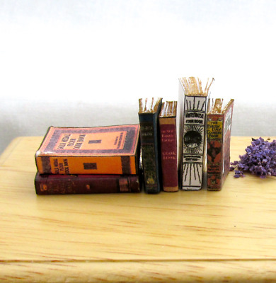 6 VINTAGE OLD COOKBOOKS Set Miniature Dollhouse 1:12 Scale Books PROP Faux