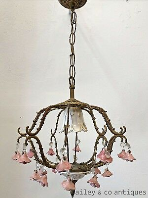 Antique French Chandelier Cage Brass Porcelain Roses - PQ551