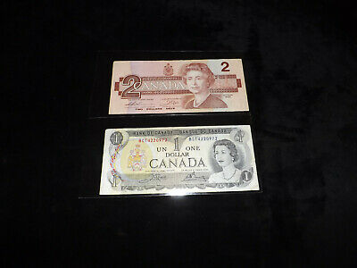Bank Of Canada Lot - 1986 $2.00 & 1973 $1.00 Notes =.,.,.,