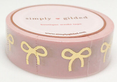 Simply Gilded Washi Tape | Pink w/Champagne Gold Bows (15 mm) | NIP