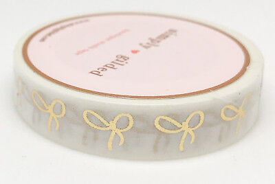 Simply Gilded Washi Tape | White and Gold Bow Skinny (10 mm) | NIP