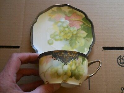 Rosenthal Cup And Saucer Madeleine Artist Signed Pirier Grapes Design