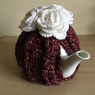 Hand Crocheted tea cosy For 4 Cup Pot. Berry With White Roses.