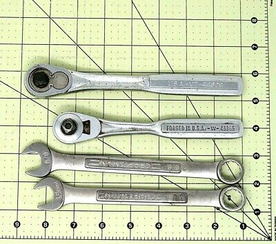 "(4) Vintage Craftsman - (2) 3/8"" Quick Release Ratchets (2) Combo Wrenches MC03"