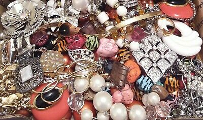 Huge Some Signed Vintage - Now Unsearched Wear No Junk Jewelry Lot Lbs Pounds K