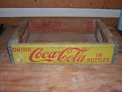 Vintage 1967 Wooden Yellow Coca-Cola Packing and Shipping Crate Collectible