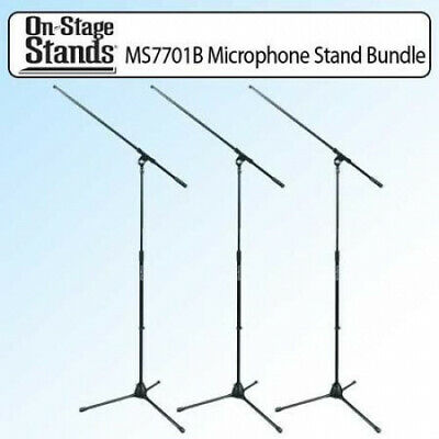 On Stage MS7701B Euro Boom Microphone Stand Black Kit Of 3. OnStage