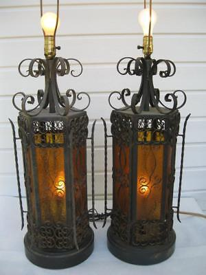 Vintage Pair Wrought Iron Spanish Medieval Gothic Amber Lamps & Shades