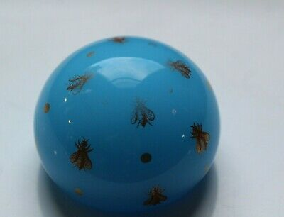 Vintage Baccarat French Opaline Gold Gilt Bees Blue Glass Paperweight