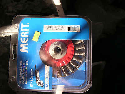 Wire Wheel Brush, 5 inch (Merit) for use with high speed angle grinders