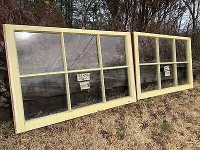2 - 36 x 23 Matching Vintage Window sash old 6 pane yellow finish Arts & Crafts