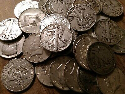 $100 Face Value 90% Silver Half Dollar coins.  Walking Liberty & Kennedy LOW BID