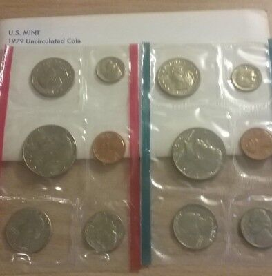 US 1979 Mint Uncirculated Philadelphia and Denver Coin Set - Sealed- 12 Coins