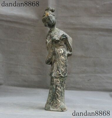 Chinese Dynasty Bronze silver Pattern Ancient Geisha Beauty Dancing girl Statue