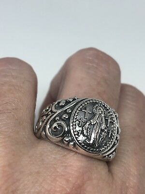 Vintage 925 Sterling Silver Saint Mary Amulet Size 12.5 Ring
