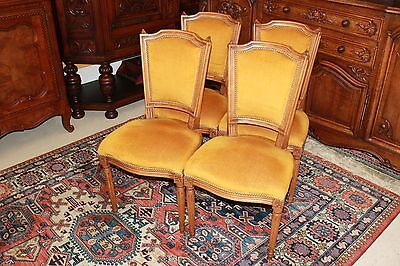 Set of 4 French Antique Walnut Upholstered Parlor Chairs Living Room