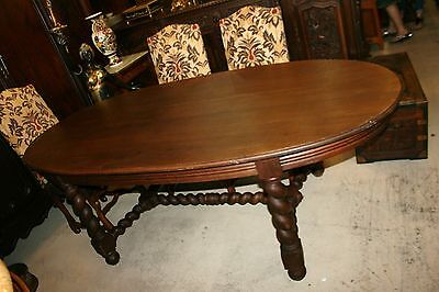 English Antique Solid Oak Wood Barley Twist Round Oval Kitchen Dining Room Table