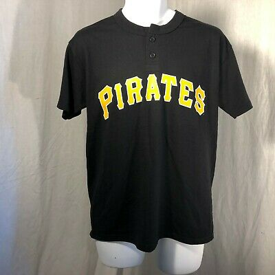 c7ac7f81f Majestic Black Pittsburgh Pirates Henley MLB Youth T-Shirt Size L XL NWOT