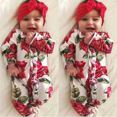 Newborn Infant Baby Girl Floral Romper Bodysuit Jumpsuit Red Clothes Outfit