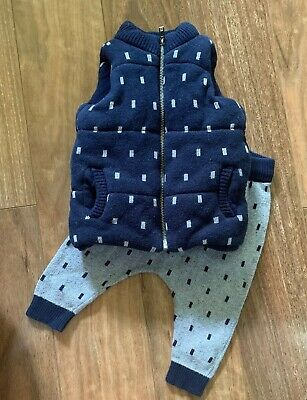 Seed Baby 00 ( 6/12 Months) Puffer Knit Vest, Knit Pants Set