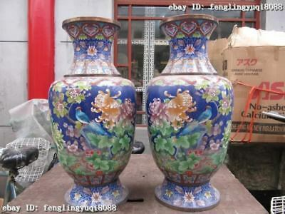 Chinese Folk Old Copper cloisonne Enamel chrysanthemum Flower Bird pot Vase Pair