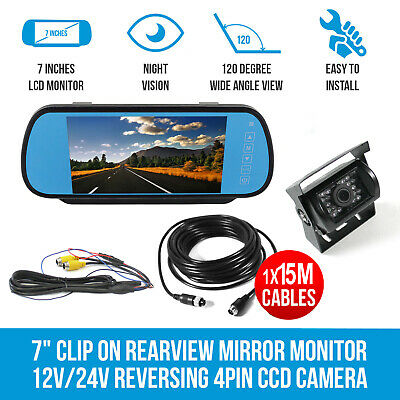 """7"""" Clip on Rearview Mirror Monitor 12V/24V HD 4PIN CCD Camera 49Ft Cable Caravan"""
