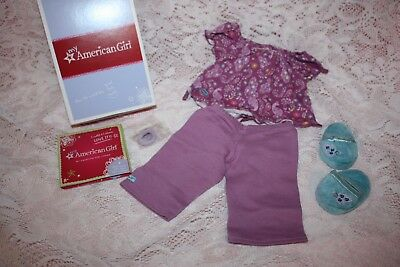 NEW American Girl PURPLE PEACOCK PAJAMAS Doll Sized with PROUD CHARM & Slippers