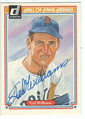 """1983 DONRUSS   """"Ted Williams""""  Hall of Fame Heroes  *Autographed card."""
