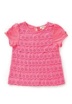Matilda Jane CORAL REEF Top 6 Pink Eyelet Tiered Ruffle Girl's Happy & Free NWT