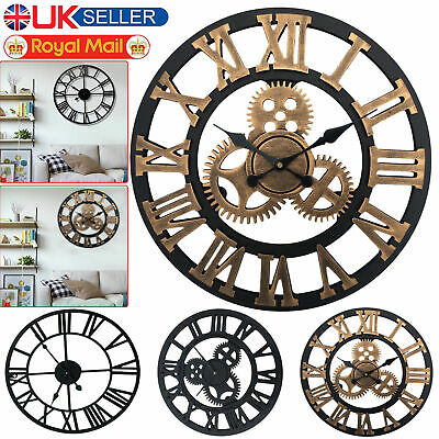 ,large Garden Skeleton Iron 40/60Cm Wall Station Clock Open Face Round Outdoor