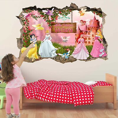 Princess Castle Personalised Name Wall Art Sticker Mural Decal Custom Name GS12