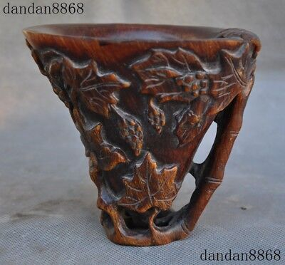 """6""""Chinese Old Horns Ox horn Hand carve Grape Wine vessel Goblet Wineglass Cup"""
