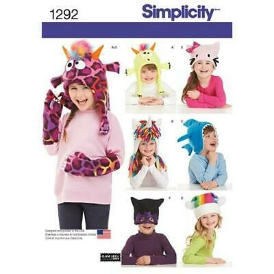 6c65cbb6c5d Simplicity Sewing Pattern 1292 Child Girls Hat Mittens Three Sizes Size  S-M-L UC